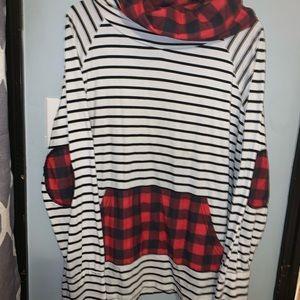 Buffalo plaid and striped cowl neck sweatshirt